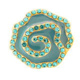 20MM Flower Snap Gold Überzogen mit blauen Strasssteinen und Emaille. KC7665 Snaps