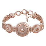 3 button metal Rose Gold  Bracelets fit 18&12mm snaps chunks KC0766