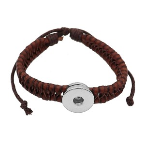 1 buttons brown Artificial leather KC0873 new type bracelets fit 20mm snaps chunks