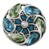 20MM snap Antique Silver Plated with green Rhinestone KC8688