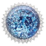 25MM Hecho a mano Grueso brillante redondo Ámbar complemento Plateado con diamantes de imitación KC7952 Azul