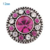 Broches 12mm Plateados con diamantes de imitación rosa Joyas a presión KS5068-S