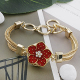 Broche de oro 20MM chapado en oro con diamantes de imitación y esmalte rojo KC9864 broches de joyería