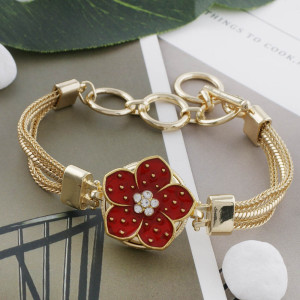 20MM flower snap gold Plated with rhinestone and  red enamel  KC9864 snaps jewelry