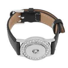 Кнопки 1 Черный Натуральная кожа KC0877 Часы браслеты подходят 20MM защелки куски