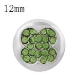 12MM trébol de caída de trébol plateado con diamantes de imitación verde KS8089-S complemento de joyería