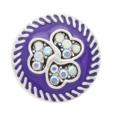 20MM loveheart Retro sliver Plated with rhinestone and purple enamel KC7705 snaps jewelry