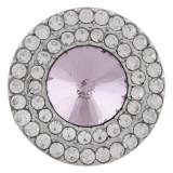 20MM Broche redondo plateado con diamantes de imitación rosa KC9887 broches de joyería