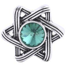 Защелки 20MM Античное серебро, покрытое зелеными стразами KC6240 защелкиваются ювелирные изделия