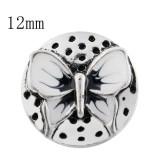 12mm Butterfly Small size snaps with white Enamel for chunks jewelry