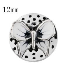 12mm Mariposa Broches de tamaño pequeño con esmalte blanco para joyas en trozos