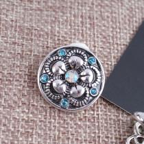 20MM Fleur pression Antique Argent plaqué avec des strass KB7604 s'enclenche bijoux cyan