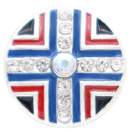 20MM round snap silver Plated with  Rhinestones  and blue enamel KC7802 snaps jewerly