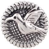 20MM Vogel runder Druckknopf Antik versilberter KC7371 austauschbarer Druckknopfschmuck