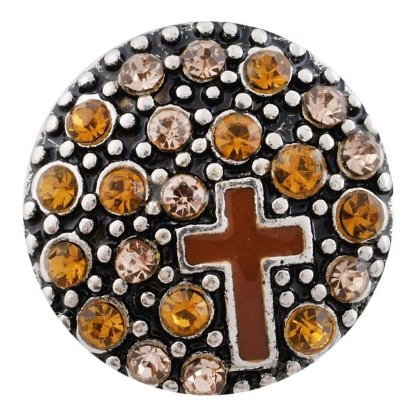 20MM cross snap silver antique plated with orange Rhinestone KC7496 interchangeable snaps jewelry