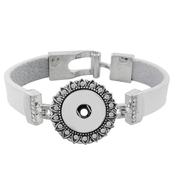 18CM white leather bracelets with rhinestone KC0790 fit 18MM snaps chunks