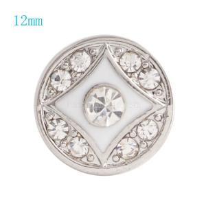 12MM Broche redondo plateado con diamantes de imitación transparentes y esmalte blanco KS6052-S broches de joyería