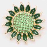 20MM Girasol complemento chapado en oro con diamantes de imitación verde KC6851 broches de joyería