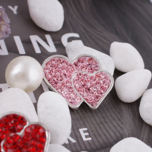 20mm valentine loveheart snaps  with pink rhinestone KC4018 snap jewelry