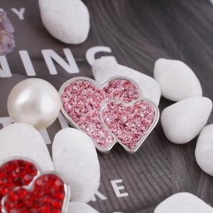 20mm valentine loveheart s'enclenche avec des bijoux en strass rose KC4018