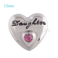 12mm daughter snaps Silver Plated with rose rhinestone KS5113-S snap jewelry