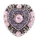 20MM Loveheart snap Plateado antiguo plateado con diamantes de imitación púrpura KC7145 broches de joyería