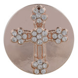 20MM cross Rose Gold Plated with white rhinestone KC7540 snaps jewelry