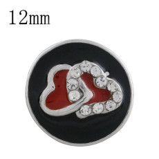 12MM heart snap silver plated with black enamel KS6316-S snaps jewelry