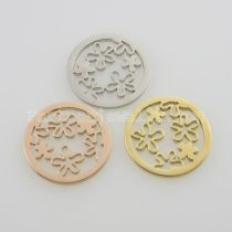 25MM stainless steel coin charms fit  jewelry size small flowers