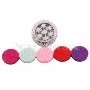 25mm weiße Legierung Schneeflocke Aromatherapie / Ätherisches Öl Diffusor Parfüm Medaillon Snap mit 1pc Mix Farbe Scheiben als Geschenk