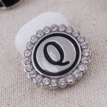 20MM English alphabet-Q snap Antique silver  plated with Rhinestones KC8546 snaps jewelry