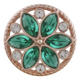 20MM round Rose-Gold Plated with green rhinestone KC7544 snaps jewelry