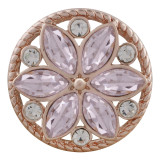 20MM round Rose-Gold Plated with pink rhinestone KC7548 snaps jewelry