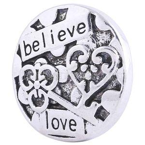 20MM Saint Valentin Loveheart bouton-pression rond Argent plaqué KC6173 plaqué argent