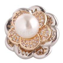 20MM flower snap button  gold Plated with white zircon  KC9047 snap jewelry