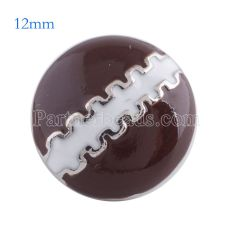12MM foodball snap Antique Silver Plated with brown enamel KS6087-S snaps jewelry