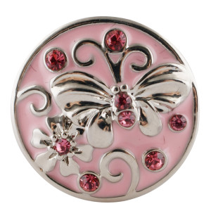 20MM Butterfly snap silver Plated with pink Rhinestones and enamel KC7681 snaps jewerly