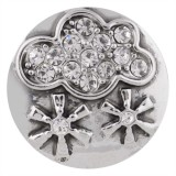 20MM snow snap silver plated with white Rhinestone KC5491 snaps jewelry