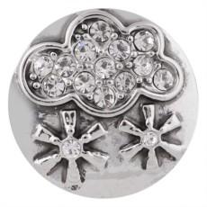 Broche de nieve 20MM plateado con diamantes de imitación blancos KC5491 broches de joyería
