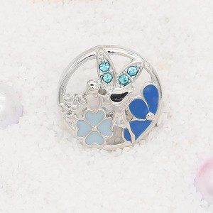 20MM Spirit snap Silver Plated with blue rhinestone and enamel KC7897 snaps jewelry