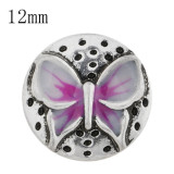 12mm Butterfly Small size snaps with purple Enamel for chunks jewelry