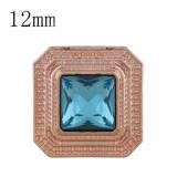 12MM Square Rose Gold Plated mit blauem Strass KS6280-S schnappt Schmuck
