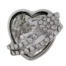 18MM heart snap Silver Plated with white Rhinestone KC6482 snaps jewelry