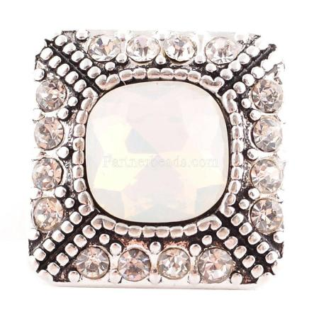 20MM Square snap Silver Plated with White and clear rhinestones KC6088 snaps jewelry