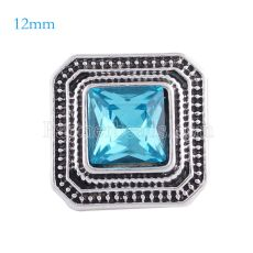 12MM Square snap Antique sliver Plated with light blue rhinestone KS6147-S snaps jewelry