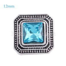 12MM Astilla cuadrada Astilla antigua Chapada con diamantes de imitación azul claro KS6147-S broches de joyería