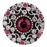 Diseño 20MM complemento chapado en plata antigua con diamantes de imitación rojo rosa KC6379 broches de joyería