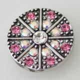 20MM Круглая защелка Античное серебро с покрытием из розово-красного горного хрусталя KB5226 оснастки ювелирные изделия