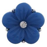 20MM Flower Snap Versilbert mit blauem Acryl und Strass KC9756 Snaps Schmuck