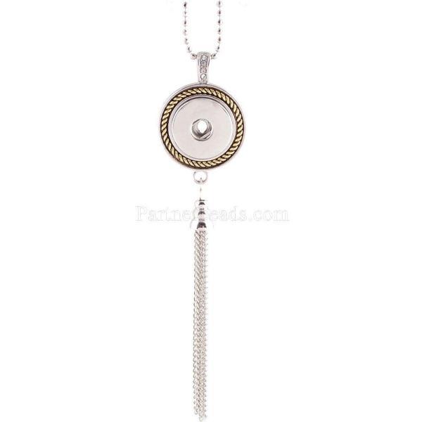 Collar de alta calidad con cadena 80CM con diamantes de imitación KC0927 fit 18mm trozos broches joyería
